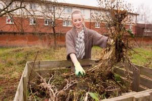 Girl composting