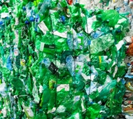 Baled plastic bottles ready for recycling