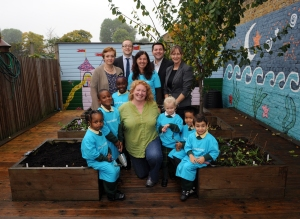 Charlie Dimmock with Children at St Bedes