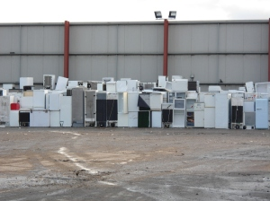 Fridges and freezers ready for recycling