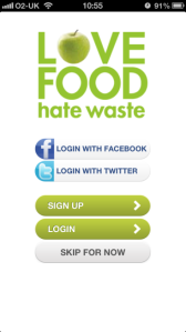 Screen shot of the new Love Food Hate Waste app