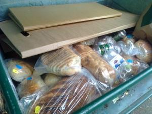 Recycling bin full of bread!