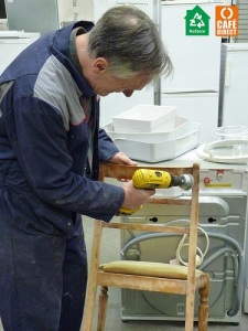 A chair being refurbished ready for resale.